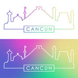 Cancun skyline. Colorful linear style. Royalty Free Stock Photo