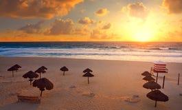 Cancun Sunrise At Delfines Beach Mexico Stock Image