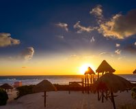 Free Cancun Sunrise At Delfines Beach Mexico Stock Images - 102600924