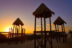 Cancun Sunrise At Delfines Beach Mexico Royalty Free Stock Photo