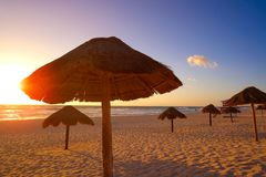 Cancun Sunrise At Delfines Beach Mexico Royalty Free Stock Photography