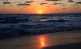 Cancun sunrise and waves Royalty Free Stock Images