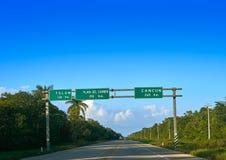 Cancun Tulum Playa del Carmen road sign Stock Photos
