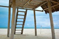 Cancun watcher. Cancun beach watcher lifeguard in caribbean sea Stock Images
