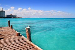 Cancun Wood Pier Tropical Caribbean Sea Royalty Free Stock Photography