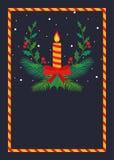 Cand和叶子圣诞节空白海报设计 库存例证