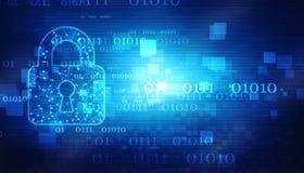 Candado cerrado en fondo digital, seguridad cibernética y seguridad de Internet stock de ilustración