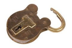 Candado de cobre amarillo Imagen de archivo