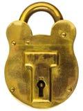 Candado de cobre amarillo antiguo aislado en blanco Fotos de archivo