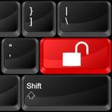 Candado del botón del ordenador abierto Imagen de archivo libre de regalías