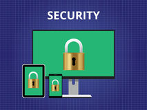 Candado del dispositivo de la plataforma de la cruz del concepto del ataque de la seguridad Imagen de archivo libre de regalías