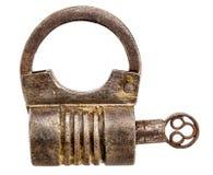 Candado del hierro del vintage aislado Fotografía de archivo