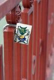 Candado en una cerca del metal Imágenes de archivo libres de regalías