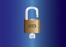 Candado fijado con llaves Imagen de archivo libre de regalías