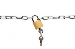 Candado y cadena Imágenes de archivo libres de regalías
