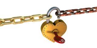 Candado y cadenas del corazón Foto de archivo