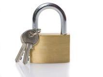 Candado y clave Fotografía de archivo libre de regalías