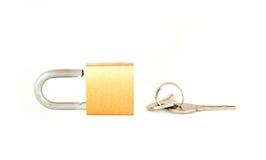 Candado y claves Imagen de archivo libre de regalías