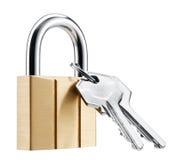 Candado y claves Foto de archivo libre de regalías