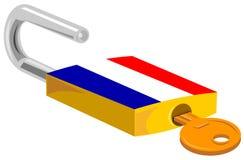 Candado y diseño de la bandera de Francia de la llave Imágenes de archivo libres de regalías