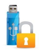 Candado y memoria USB del Usb como llave Fotografía de archivo libre de regalías