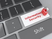 Candado y seguridad de información en el teclado de ordenador illus 3d Fotos de archivo libres de regalías