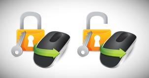 Candados y ratón inalámbrico del ordenador Imagen de archivo libre de regalías