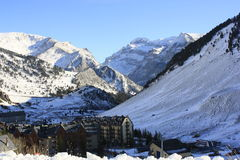 Candanchú, montagne nevicate, Pirenei Fotografia Stock