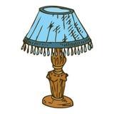 Candeeiro de mesa azul isolado no fundo branco Imagens de Stock Royalty Free