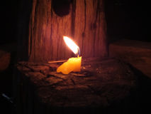 Candel. Candle in the Dark at Lonely In The Village Royalty Free Stock Photo