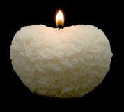 Candela bianca del cuore delle rose fotografia stock
