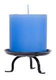 Candela blu su bianco Immagini Stock Libere da Diritti