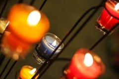 Candela blu su fuoco Fotografia Stock
