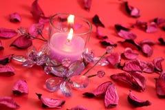 Candela con il fiore di cristallo - colore rosso Fotografie Stock