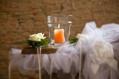 Candela con le rose Immagini Stock