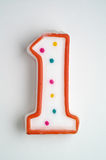 Candela della torta di numero uno Fotografie Stock