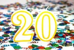Candela di celebrazione - numero 20 Fotografia Stock
