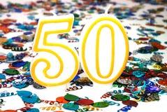 Candela di celebrazione - numero 50 Fotografie Stock Libere da Diritti