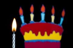 Candela di compleanno con la torta Fotografia Stock Libera da Diritti