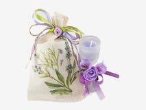 Candela di tela dell'aroma e del sacco in vetro decorato Immagini Stock