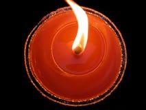 Candela e fiamma rosse Fotografia Stock Libera da Diritti