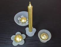 Candela ed insieme del candeliere Immagini Stock