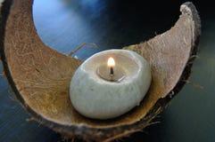 Candela nella noce di cocco Immagini Stock