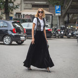 Candela Novembre posing during Milan Fashion Week Stock Photography