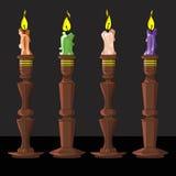 Candela in un supporto di candela Fotografia Stock
