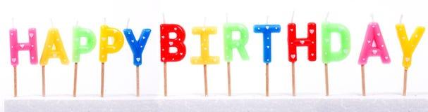 Candela variopinta multipla di buon compleanno Fotografia Stock Libera da Diritti