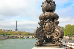 Candelabra on the Alexandre III bridge. Emblem of Paris. (Paris, France). Candelabra on the Alexandre III bridge. Fluctuat nec mergitur, emblem of Paris. (Paris royalty free stock photos