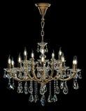 Candelabro contemporâneo do ouro isolado no fundo preto Crystal Chandelier fotografia de stock royalty free