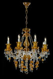 Candelabro contemporâneo do ouro isolado no fundo preto Crystal Chandelier imagens de stock