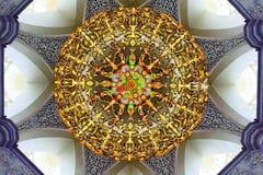 Candelabro de cristal lindo da mesquita Fotos de Stock Royalty Free